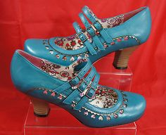 HUSH PUPPIES Mary Jane mid heel Court Shoes TEAL BLUE size 3 4 5 6 7 8 9 10
