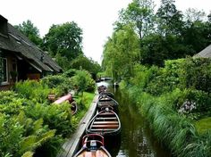 Giethoorn in Holland.  A village with no roads!