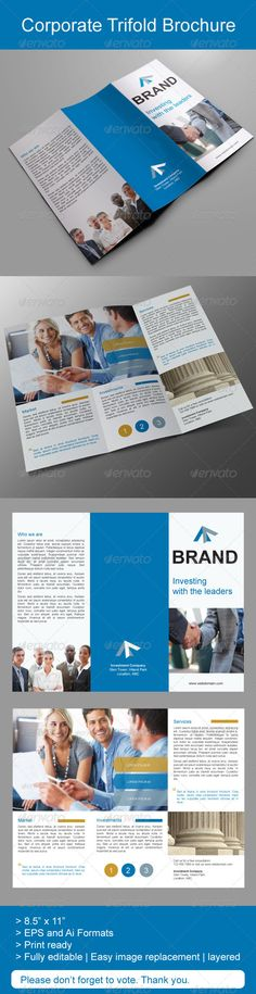 Corporate Trifold Brochure — Vector EPS #professional #investment • Available here → https://graphicriver.net/item/corporate-trifold-brochure/5166216?ref=pxcr
