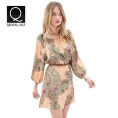 Qideal-L Новый 2015 Мода три четверти рукава Фонарь Свободные Женщины Летнее платье Пейсли шаблон печатной шифон Мини Vestidos
