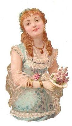 Victorian Die Cut Paper Doll Lady Dress Scrap