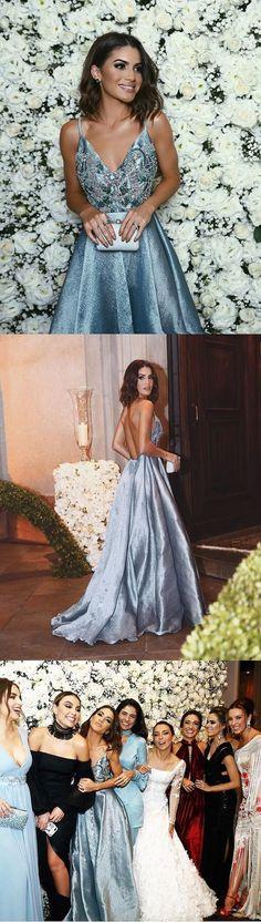 Evening Dresses New Luxurious A-line Straps Blue Long Prom Dress Formal Evening Dress