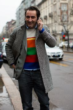 Andrea solari, milan. I love color and my men are not afraid of color, thank goodness.