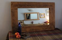 handmade large wood frame wall mirror in chunky natural eco wood - custom options available - industrial & rustic fusion from Somerset UK