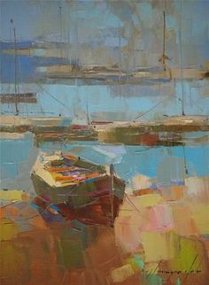 "Saatchi Art Artist Vahe Yeremyan; Painting, ""Boat on the Shore, Seascape oil Painting, Painting on Canvas, One of a Kind"" #art"