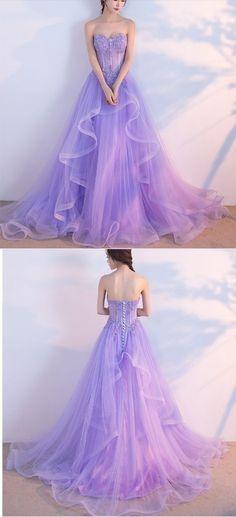 Elegant Prom Dress,Long Prom Dresses,Sweetheart Prom Dresses,Lilac Evening