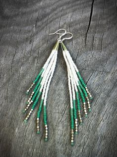 Seafoam and White Fringe Earrings  Green Turquoise Sea by Kadhi, $33.00