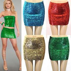 SEXY LADY FULL SEQUIN SKIRT SPARKLING METALLIC WIDE ELASTIC MINI CLUB WEAR PARTY