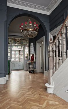 How interior stylist Marianne Cotterill turned her family home into a business Victorian entrance hall with dark walls and parquet floor. Edwardian Haus, Edwardian Hallway, Modern Victorian, Edwardian Staircase, Victorian Stairs, Victorian Front Doors, Victorian House Interiors, Victorian Homes, Georgian Interiors