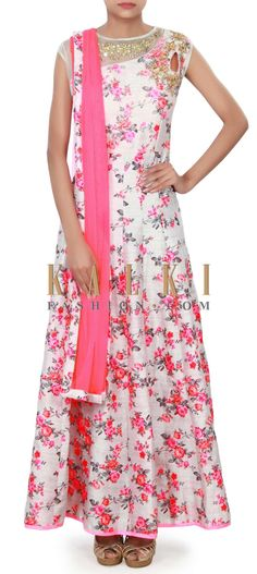 Buy Online from the link below. We ship worldwide (Free Shipping over US$100) Price-$149 Click Anywhere to Tag http://www.kalkifashion.com/grey-anarkali-suit-adorn-in-floral-print-and-zari-only-on-kalki.html