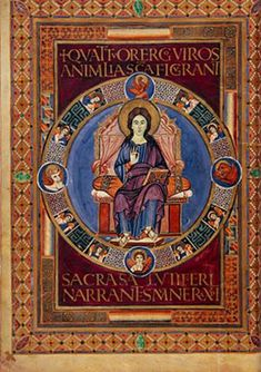 The Codex Aureus of Lorsch or Lorsch Gospels is an illuminated Gospel Book written between 778 and 820, roughly coinciding with the period of Charlemagne's rule over the Frankish Empire. Both the manuscript and the carved ivory panels from the cover are rare and important survivals from the art of this period.