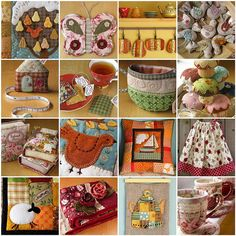 1. Pear Tree - detail, 2. Butterfly Potholder 7, 3. Pumpkin Coasters, 4. Linen Bird Ornaments, 5. House Tape Measures 64, 6. Lavender Teabags, 7. TeaCup pouch 97, 8. Cupcake Pincushions, 9. Quilted Books, 10. Linen Partridge Hanging, 11. Sailboat Pillow, 12. Long Twirly Skirt, 13. Sheep Pillow Cover - detail, 14. Patchwork Scarf & Rose Brooches, 15. Linen Teapot Hanging, 16. Quilted Teacup & Saucer Sets