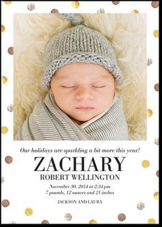 Divinely dotted winter boy birth announcement