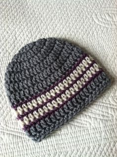 Crochet Baby Beanie in Gray Plum and Cream by LakeviewCottageKids, $18.00