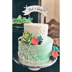 Ombre wedding cake with henna buttercream design by 2Tarts Bakery.