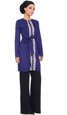Womens Lightweight Blue Embroidered Long Trench Coat | Modest Islamic Clothing | Artizara.com