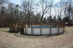 Deck and fence around above ground pool