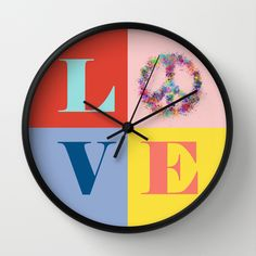 Peace and Love Wall Clock | Pantone color of the year 2016