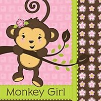 Monkey Girl - Personalized Baby Shower Tags - 20 ct | BigDotOfHappiness.com