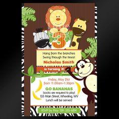 20, 5x7 -- Jungle Safari Cake Baby Shower or Birthday Invitations -- Custom