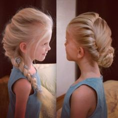Elsa's 2 hairdos inspired by Disney's Frozen #Elsa hair  #Cheveux de Elsa La Reine de Neiges. Elsa's French braid ice queen looks and her coronation hairstyle!!!!!!!! I love these hairstyles and I love Frozen!!!!!!!!!!!