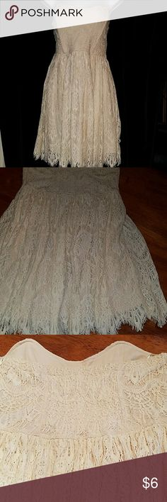 STRAPLESS LINED DRESS BY YA SIZE LARGE Sz large built in BRA and slip lace dress,  cream color. Great condition. Ya Dresses