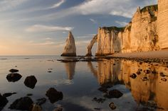 White Chalk Cliffs and Arches - Etretat, France