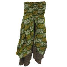 Mogulinterior Sari Long Skirt Vintage Style Green Printed Bandeau Boho Maxi Skirts for Womens Summer Skirts, Summer Dresses, Maxi Skirt Boho, Maxi Skirts, Green Silk, Vintage Skirt, Green Dress, Vintage Fashion, Vintage Style