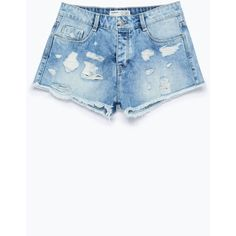 Zara Ripped Denim Shorts ($36) ❤ liked on Polyvore