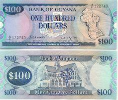 Guyana 100 Dollars (1989) (map of Guyana; cathedral)