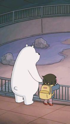 Ice Bear and Chloe 😍 Bear Wallpaper, Kawaii Wallpaper, Cute Wallpaper Backgrounds, Cartoon Wallpaper, Cute Wallpapers, We Bare Bears Human, Ice Bear We Bare Bears, We Bear, Happy Cartoon