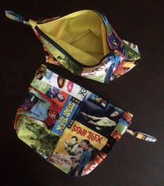 """Themed bag 8"""" x 10"""" mini travel bag for electronics cords or childrens toys by GeeGeeGoGo on Etsy"""