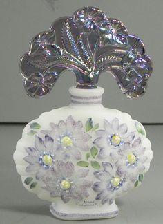 Fenton Hand Painted Art Glass Perfume Bottle Carnival Stopper   eBay