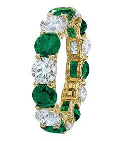 Round Emerald Diamond Eternity Band