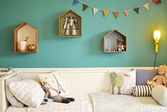 A boys bed (by Babyccino Kids). Maybe DIY the wall shelf shadow boxes?