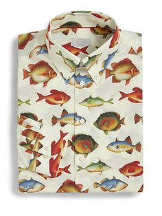 Prints for work on pinterest tropical prints tommy for Fish print shirt