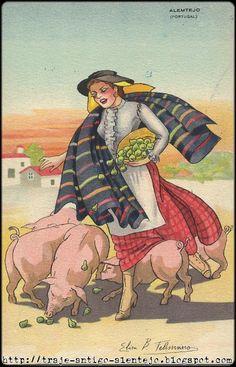 Trajes antigos do Alentejo.: Alentejo - pastando porco
