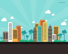 XOO Plate :: Flat Cartoon CityScape Background - High resolution city background in flat cartoon style - cityscape with high rise buildings - PSD. Building Illustration, City Illustration, Cartoon Building, Abstract City, City Background, City Buildings, Cartoon Styles, Abstract Backgrounds, Just In Case
