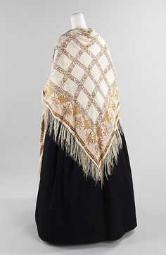 Shawl  Date: 1840–49 Culture: French Medium: silk Dimensions: With fringe: 68 x 70 in. (172.7 x 177.8 cm) Credit Line: Brooklyn Museum Costume Collection at The Metropolitan Museum of Art, Gift of the Brooklyn Museum, 2009; Gift of Mrs. Frank L. Babbott, Jr., 1941 Accession Number: 2009.300.3026