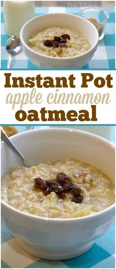 Apple cinnamon Instant Pot oatmeal recipe that takes just 5 minutes and tastes amazing! Easy pressure cooker oatmeal recipe my kids absolutely love. via @thetypicalmom