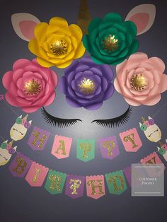 Unicorn flower decorations, these are a perfect focal point to go with your unicorn theme! This set looks great as a backdrop for a dessert table for your birthday party, baby shower or any unicorn themed party. It would also look great in a nursery. ❗️❗️check out our FLASH SALE