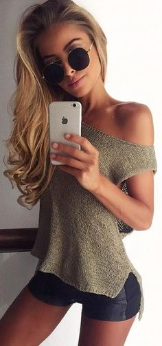 #summer ##flawless #Outfits | Olive Knit Top + Double Tone Black Shorts
