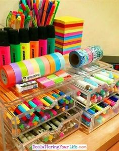 DIY Craftroom Organization – Unexpected & Creative Ways to Organize Your Craft Room Craft Storage Ideas for Small Spaces – Craft Room Organizing Ideas Craft Storage Ideas For Small Spaces, Small Storage, Storage Drawers, Storage Containers, School Suplies, Cute School Supplies, Craft Organization, Organizing Ideas, Stationary Organization