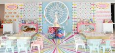 The birthday party of dreams with a candy ferris whell as a center point! Circus Party Decorations, Carnival Themed Party, Carnival Birthday Parties, Birthday Party Themes, 2nd Birthday, Birthday Ideas, Girly, Tropical Party, Childrens Party