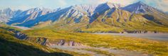 """Artist-in-Residence program participant Rod Weagant created this oil on canvas piece named """"Mount Eielson"""" in 2005. [NPS photo by Nathan Kostegian]"""
