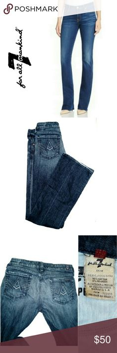"""7 FOR ALL MANKIND BOOTCUT 7 FOR ALL MANKIND BOOTCUT JEANS Pre-Loved / EUC / Pic for Similarity  Sz 28  Approx Meas; *.  Inseam 33"""" *.  Rise 8"""" *.  Back Rise 13"""" *   Leg Opening 9"""" 7 For All Mankind Jeans Boot Cut"""