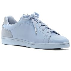 Ed Ellen Degeneres Chapalov2 Leather Sneakers ($98) ❤ liked on Polyvore featuring shoes, sneakers, blue, blue leather sneakers, round cap, leather lace up sneakers, lace up sneakers and genuine leather shoes