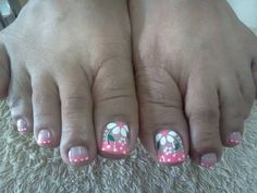 Uñas decoracion heiluz Cute Toe Nails, Toe Nail Art, Pretty Nails, Pedicure Designs, Toe Nail Designs, Hello Nails, Nail Art For Girls, Wonder Nails, Painted Toe Nails