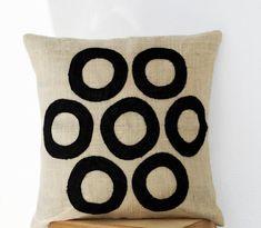 Ivory Pillows - Black Geometric Throw Pillows - Burlap Pillow - Decorative applique cushion cover- Cream Black pillow - gift pillow 16X16