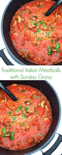 Traditional Italian Meatballs with Sunday Gravy Recipe - The ultimate easy, healthy comfort food; perfect for dinner!  - The Lemon Bowl
